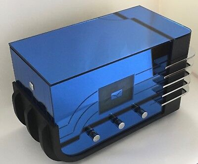 VINTAGE CROSLEY CR-38 REMAKE of SPARTAN 557 BLUE MIRROR ART DECO ANTIQUE RADIO!!