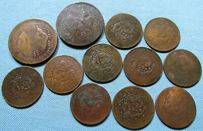 Lot of 12 China Empire 200 Cash & 20 Cash Old Copper Coins