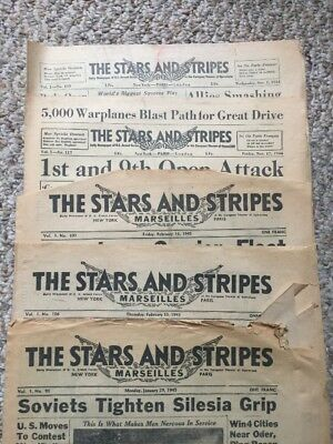 WWII Stars And Stripes US Armed Forces LOT 5 Editions -NOV 1944 to FEB 1945
