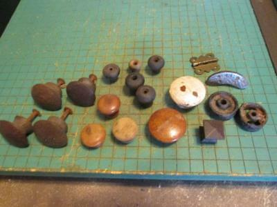 Vintage Wooden Assorted Drawer Pulls and Cast Iron Wheels -Architectural Salvage