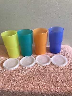 4 New Tupperware Stacking Tumblers 12oz With Seals NOS