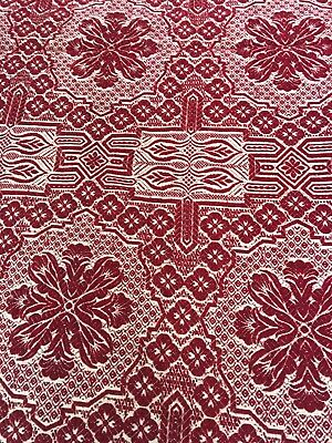 """Vintage Hand Woven Red & White Jacquard Coverlet 69"""" X 88"""""""