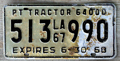 1967 Louisiana 64000 Lbs PT Tractor License Plate