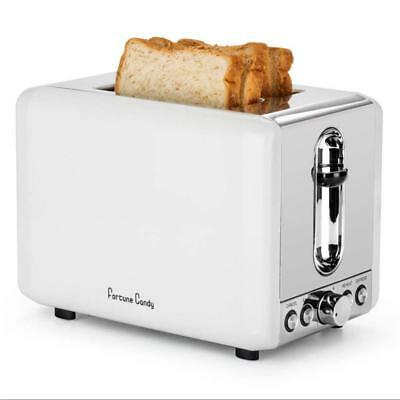 Toaster 2 Slice White,Retro Toaster,Stainless Steel Bagel with Extra Wide...