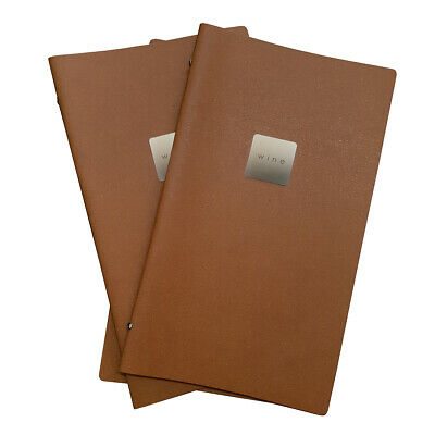 3x Wine Menu Covers Natural Tuscan Leather Drinks Stylish Cover Bar Restaurant