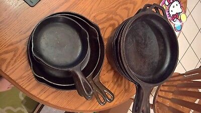 LOT of 11 Griswold, Wagner Ware, Lodg Cast Iron Pans Roasters and Fryers