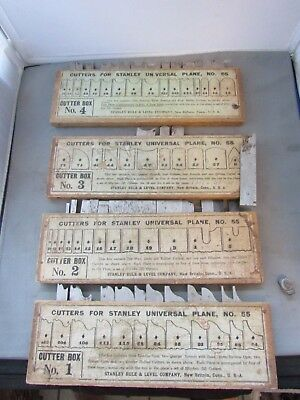 Antique Stanley No 55 Universal Plane Blades Boxes 1-4 40 Blades Total