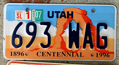 2007 Utah Centennial License Plate featuring Arches National Park WAG