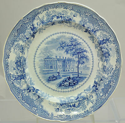 Wood Historical Blue Staffordshire Presidents House Washington Plate 1835