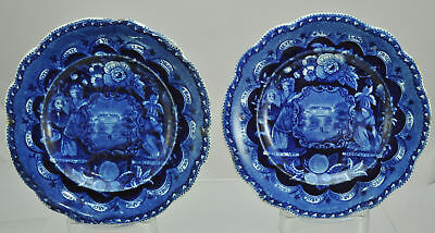Pair Clews Historical Dark Blue Staffordshire America Independence Plates 1820