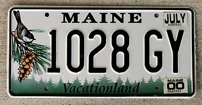 "Maine ""Chickadee and Pine-Cone"" License Plate with a 2000 Sticker"