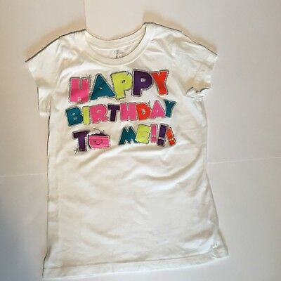 TCP Childrens Place Girls Happy Birthday To Me Short Sleeve Graphic Tee TOP Sz 8