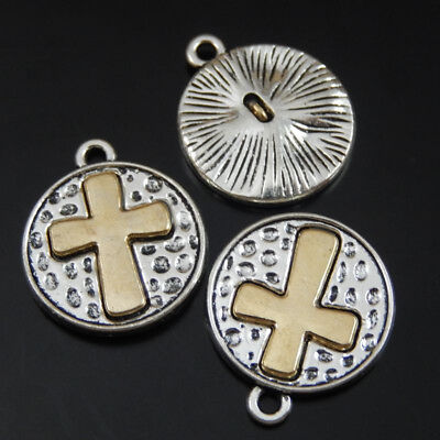 10pcs Vintage Silver Alloy Round Rosary Cross Crucifix Charms Pendants Necklace