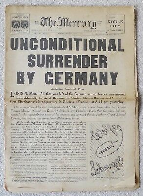 "Vintage ""the Mercury""may 8 1945 ""unconditional Surrender By Germany"""