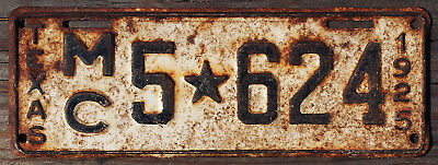 1925 Texas MOTORCYCLE license plate #5-624