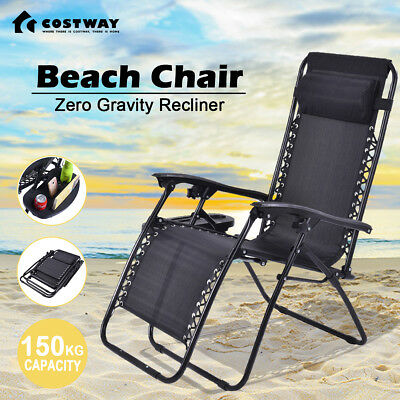 Outdoor Zero Gravity Lounge Portable Recliner Folding Beach Camping Chair W/Tray