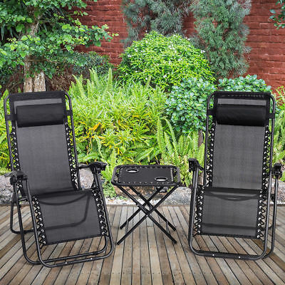 Outdoor Folding 3PC Zero Gravity Lounge Reclining Camping Chair Portable w/Table