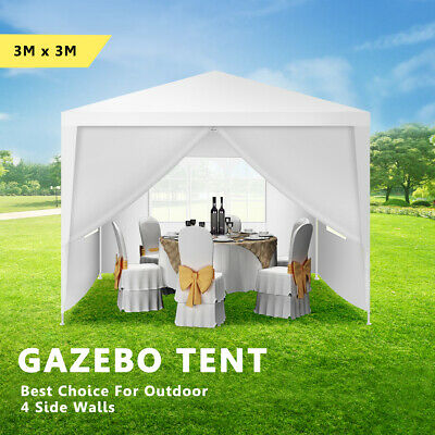 3x3m Gazebo Outdoor Wedding Marquee Party Event Tent Canopy Camping 4 Side Walls