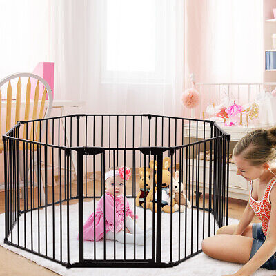 8-Panel Adjustable Baby Toddler Safety Playpen Pet Exercise Gate Multiple Fence