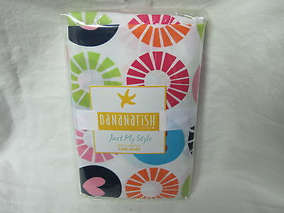Bananafish Just My Style Circle &  Hearts Crib Skirt blue pink New! Cute!