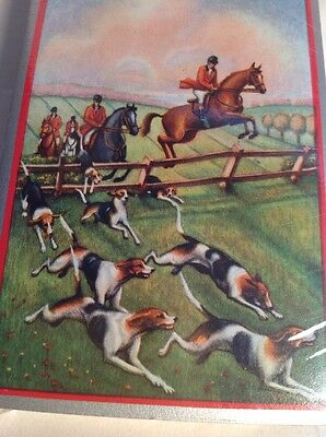 VINTAGE US PLAYING CARD CO. DECK OF CARDS Dogs Horses Hunting SEALED Tax Stamp