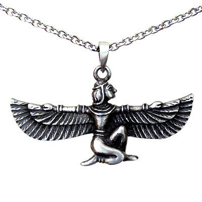Isis Egyptian Pagan goddess pewter pendant Charm Amulet Stainless Steel Necklace