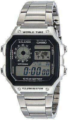 ☀ CASIO Chronograph AE-1200WHD-1A Digital Stainless Steel Men's Watch Japan ☀