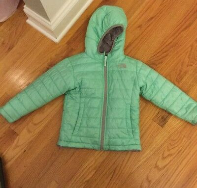 Toddler Girls North Face Teal/Gray Reversible Winter Coat; Size 4T