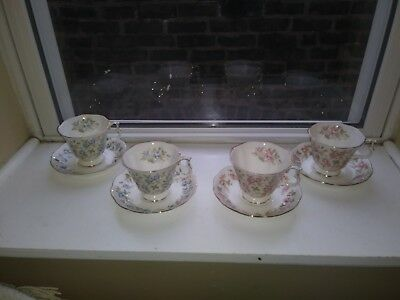 Royal Albert Pink Brocade and Blue Gown cups and saucers
