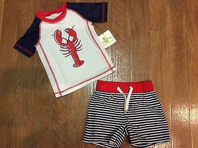 fb5978490588b New With Tags Starting Out Dillards Swim Set Trunks Rash Guard Boys 12-18  Months