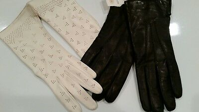 NWT LORD & TAYLOR Womens Leather GLOVES sz 7.5 & White Washable Leather Gloves 7