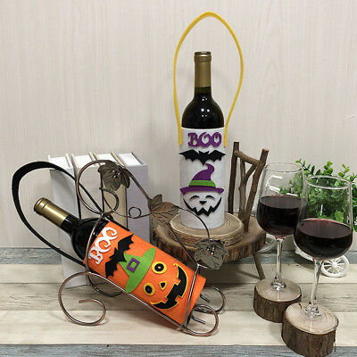 Halloween Ghost Wine Bottle Bag Cover Pumpkin Cloth Case Home Table Ornament New