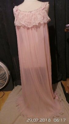 Vintage Retro Pink Nylon Long Sleeveless Nightie & Bed Jacket 16-18