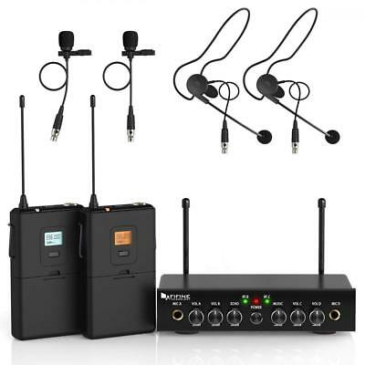 Wireless Microphone System,Fifine UHF Dual Channel Set with 2 Headsets & 2...