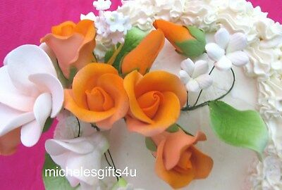 Gum Paste Peach Orange Roses Frangipani Hawaiian Sugar Wedding Cake Flowers