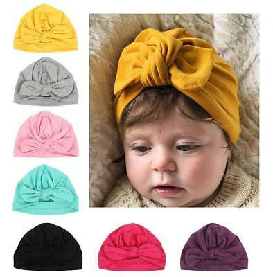 DANMY Baby Girl Hat Rabbit Ears Toddlers Soft Turban Knot Bow Cap