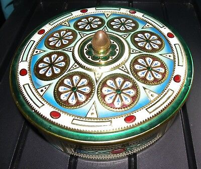 ANCIENNE BOITE EN METAL RONDE  MADE IN BELGIUM  old round metal box