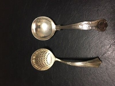 Silver Plated Sugar Spoon and Tea Strainer