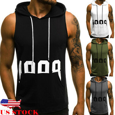 US Mens Muscle Hoodie Tank Top Bodybuilding Gym Workout Sleeveless Vest Pullover