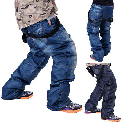 Winter Men Denim Jeans Long Ski Pants Snowboard Trousers Outdoor Travel Sports