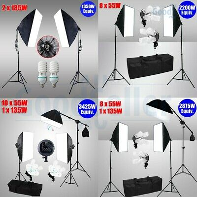 Photo Studio Lamp Soft Box Continuous Lighting Softbox Light Boom Arm Stand Kit