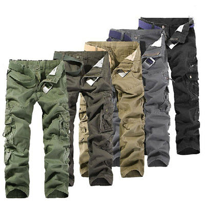 New Casual Mens Military Army Cargo Camo Multi-pocket Trousers Combat Work Pants