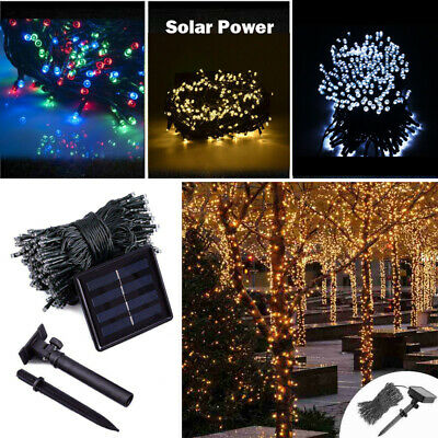 50 100 200 Solar LED Raindrop Fairy Lights String Garden Outdoor Party Wedding K