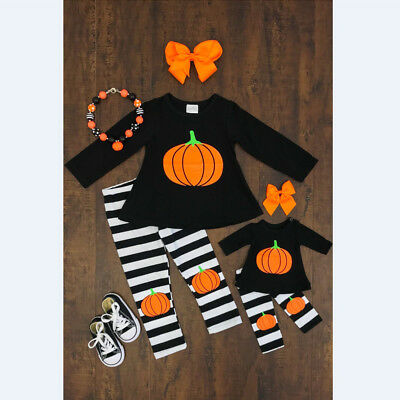 Halloween Toddler Baby Kids Girls Tops T-shirt+Striped Pants Outfits Clothes USA