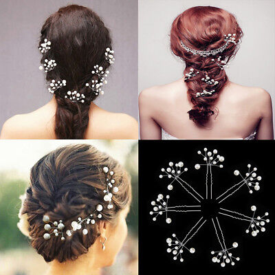 Bridal Wedding Prom Diamante Rhinestone Hair Pins Pearl Flower Slide Clips Grips