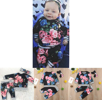 3PCS Kids Toddler Baby Girls Floral Tops+Long Pants Headband Outfits Set Clothes