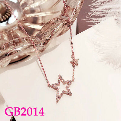 Female Crystal Hollow Star Pendant Necklace Rose Gold/Silver Chain Jewelry