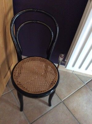 Childs Antique Bentwood Chair Painted Black And Gold With New Cane Seat