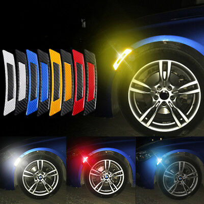 2pcs Car Motorcycle Reflective Strip Fender Flares Wheel Well Safety Sticker