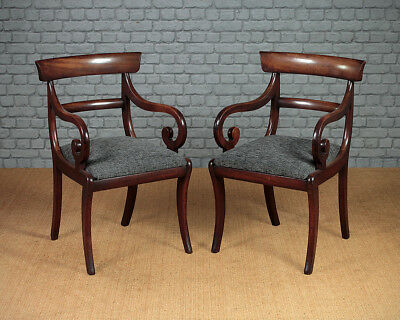Antique Pair Mahogany Scroll Arm Regency Armchairs c.1830.
